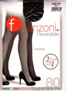 Fashion tights 80 den reversible polka dot design Color : Mustard / Black tights size: 1/2